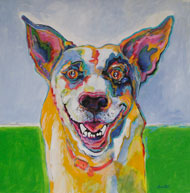 Happy - painting of a dog